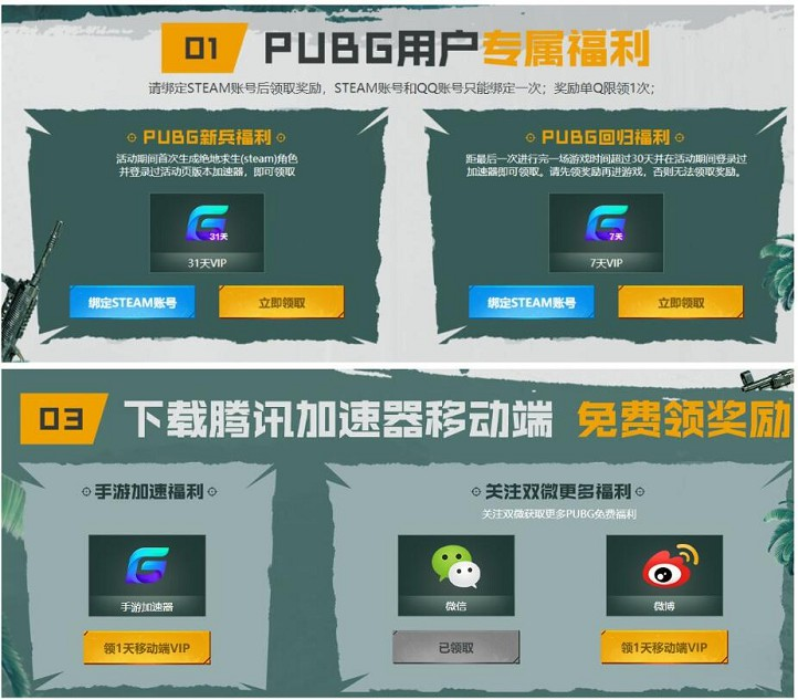 免费领取31天腾讯网游游戏加速器 绝地求生新用户
